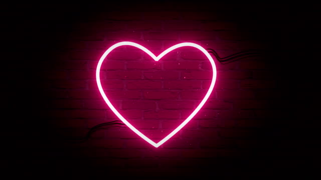 vídeos de stock e filmes b-roll de abstract hearts shape neon backgrounds - eletrónica