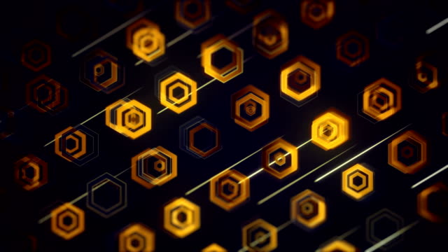 abstract hexagon background (loopable) - yellow stock videos & royalty-free footage