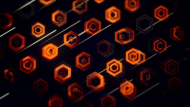 vídeos y material grabado en eventos de stock de fondo abstracto hexágono (loopable) - fondo naranja