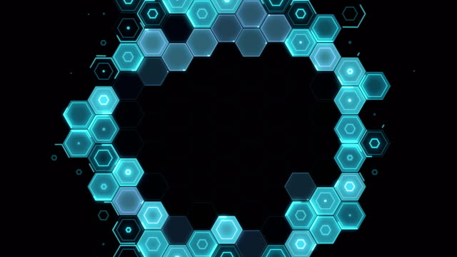 Abstract Hexagon pattern radial movement - blue