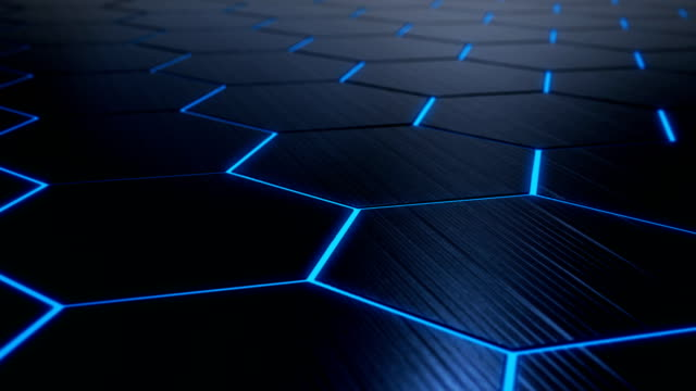 4k abstract hexagon technology background loopable - hexagon stock videos and b-roll footage