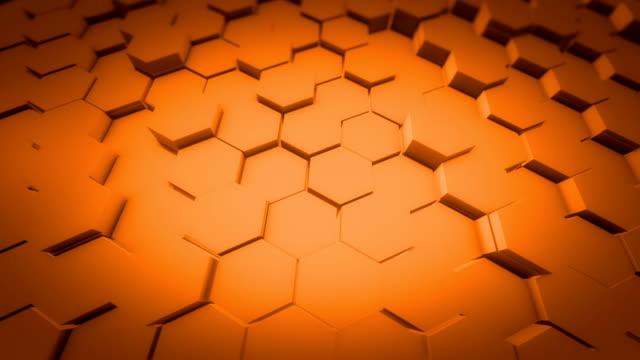 vídeos y material grabado en eventos de stock de abstract honeycomb background loop gran angular. pared de rejilla hexagonal ligera, minimalista, limpia y móvil con sombras. loopable 4k uhd animación. - en el borde