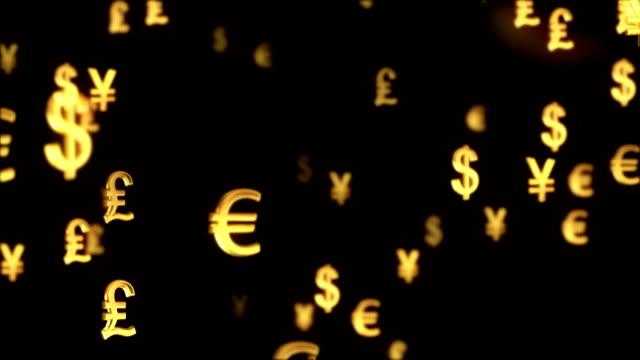 Abstract international currency symbol motion background