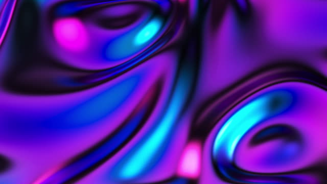 abstract iridescent liquid metallic flowing background - fractal stock videos & royalty-free footage