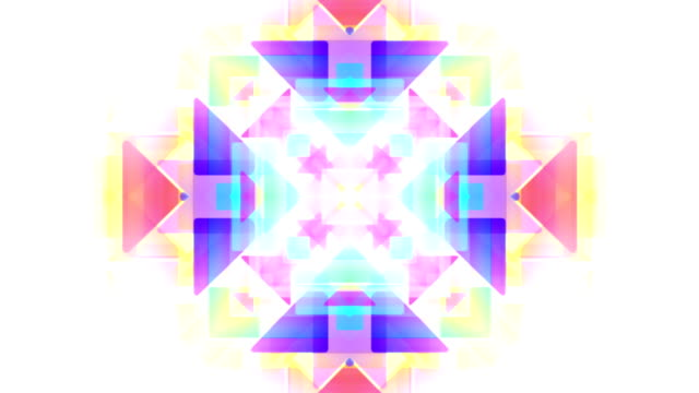 Abstract kaleidoscope pastel  triangles loopable background footage