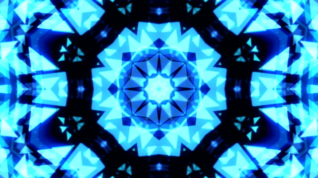 Abstract Kaleidoscope Technology blue  triangles loopable background footage