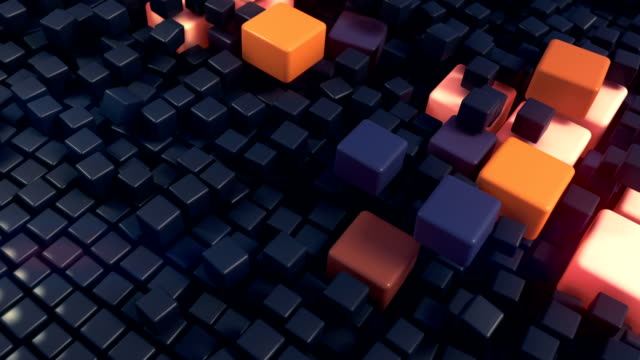 abstract landscape of three-dimensional boxes digital animation background. 3d rendering - orange colour stock videos & royalty-free footage
