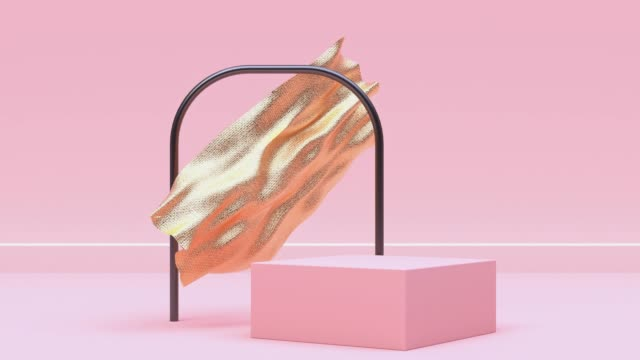 abstract levitation/floating fabric/flag/curtain metallic blank podium pink pastel scene wall floor motion 3d rendering - pastel colored stock videos & royalty-free footage