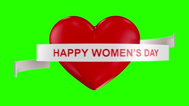 vídeos de stock, filmes e b-roll de resumo loop feliz conceito de dia da mulher com coração no fundo verde - número 8