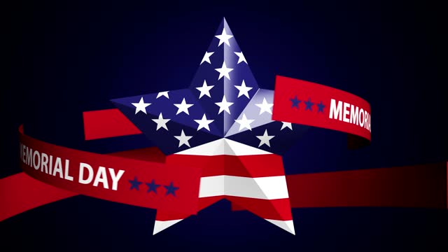 abstract loop turning star with usa flag and memorial day text background - top hat stock videos & royalty-free footage