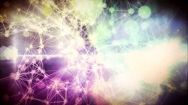vidéos et rushes de fond loopable abstrait des lumières interconnectées - fond multicolore