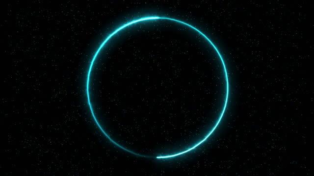 vídeos y material grabado en eventos de stock de 4k abstracto loopable circle neon frame, partículas, fondo de color negro - animación digital