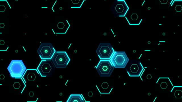 abstract loopable hexagon pattern in blue - hexagon stock videos and b-roll footage