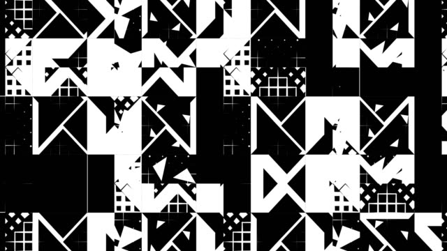 vídeos de stock e filmes b-roll de abstract matte pattern of triangles, squares, lines, loopable background - funky