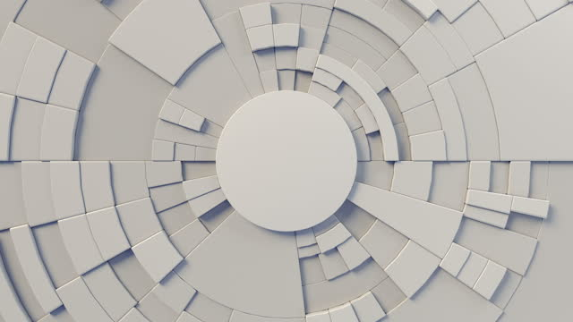 abstract mechanical movement of 3d rendering white round geometric pattern. frontal view. digital seamless loop animation. 4k, ultra hd resolution - infographic stock videos & royalty-free footage