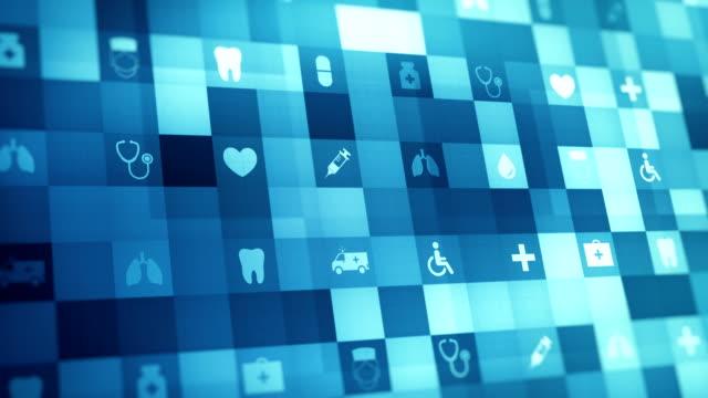 abstrakte medizinische futuristische, medizinische und gesundheit-symbol, loopable, 4k-hintergrund. - biomedical illustration stock-videos und b-roll-filmmaterial