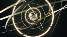 Abstract metal sphere and rotating metal rings around it. Abstract a complex rotating mechanism.