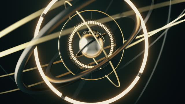 abstract metal sphere and rotating metal rings around it. abstract a complex rotating mechanism. - constellation stock videos & royalty-free footage