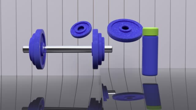 abstract motion 3d rendering metal dumbbell sport fitness concept - single object stock videos & royalty-free footage