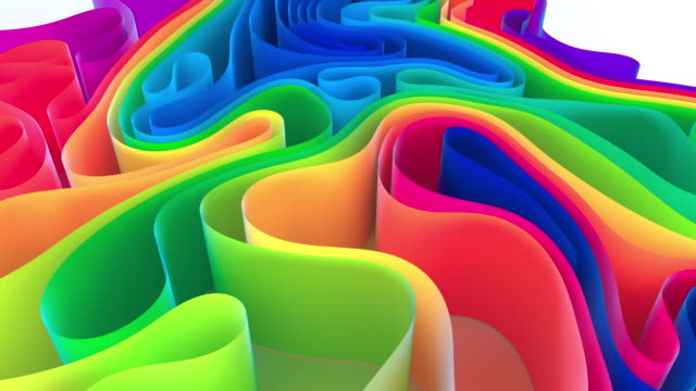 abstract multi colored waving ribbon background - colours stock videos & royalty-free footage