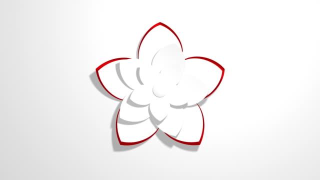 abstrakte natur symbole - papier origami grußkarte (loop 4k) - blütenblatt stock-videos und b-roll-filmmaterial