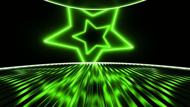 stockvideo's en b-roll-footage met abstracte achtergrond van het groene stervormgebied van de neon - star shape