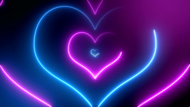 abstract neon hearts (loopable) - led light stock videos & royalty-free footage