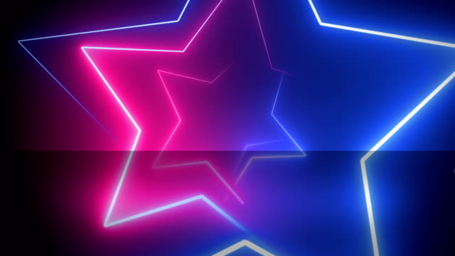 vídeos de stock e filmes b-roll de abstract, neon, star shape, backgrounds pink and blue  4k, loopable - eletrónica