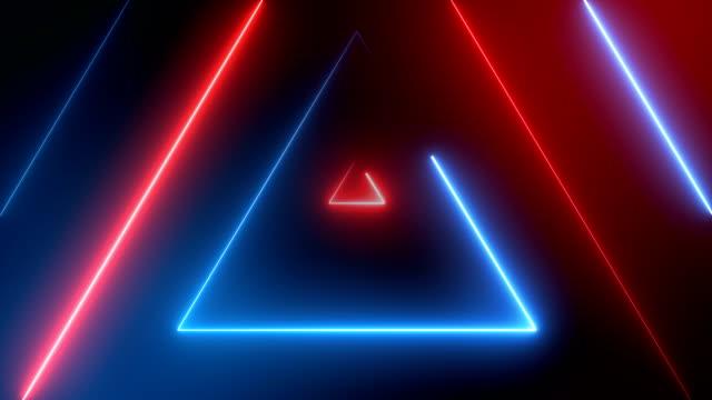 vídeos de stock, filmes e b-roll de triângulos de neon abstrata (loopable) - triângulo formato bidimensional