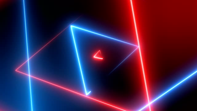 vídeos de stock e filmes b-roll de abstract neon triangles  (loopable) - efeito de luz