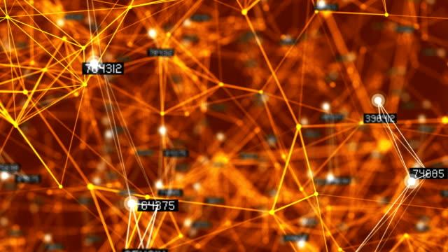vídeos y material grabado en eventos de stock de fondo de conexión de red abstracta de 4 k (loopable) - fondo naranja
