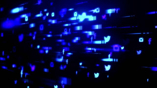 vídeos de stock, filmes e b-roll de rede abstrata azul escuro - foco no primeiro plano
