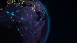 Abstract of world network, internet and global connection concept