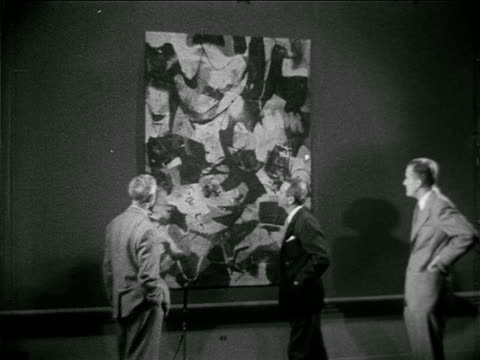 abstract painting 'still life' by belgium artist raoul ubac placing forth ws large abstract 'm 1951' by new york artist james brooks placing fifth... - 1910 stock-videos und b-roll-filmmaterial