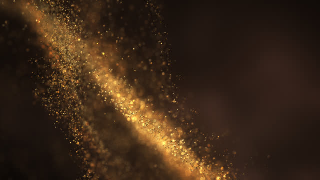 abstract particle background (gold) - loop - gold coloured stock videos & royalty-free footage