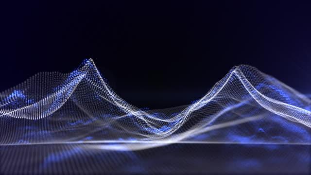 vidéos et rushes de fond abstrait de courbe de particules. rendu 3d topograhic - géographie physique