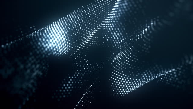 abstract particles moving dots blur background looping. dots and connecting with lines shallow depth of field. magic digital space. macro shot 3d animation motion graphics. (loopable) - hexagon stock videos & royalty-free footage