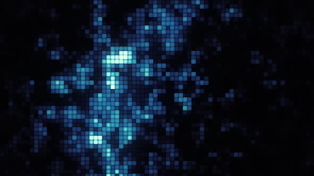 vídeos de stock e filmes b-roll de abstract particles moving dots blur background looping. dots and connecting with lines shallow depth of field. magic digital space. macro shot 3d animation motion graphics. (loopable) - movimento desfocado