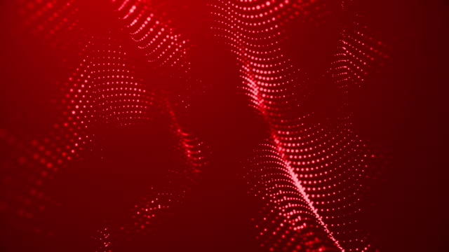 abstract particles moving dots blur background looping. dots and connecting with lines shallow depth of field. magic digital space. macro shot 3d animation motion graphics. (loopable) - red background stock videos & royalty-free footage