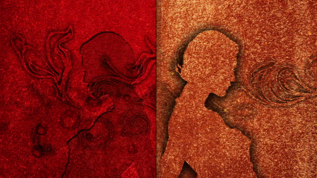 vídeos de stock, filmes e b-roll de cgi, abstract pattern with silhouette of woman against red background - figura feminina