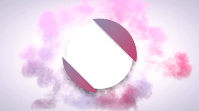 abstract pink and violet shockwave explosion on a light background opens geometric circle badge with alpha matte channel for placing your text or logo. 4k, ultra hd resolution - logo stock videos & royalty-free footage