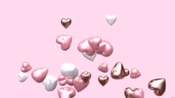 abstract pink background heart shape floating loopable 3d rendering