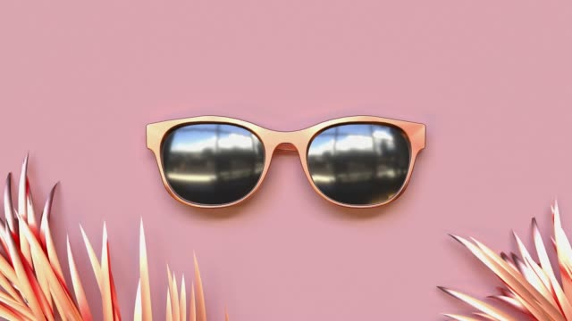 abstract pink scene summer  sea beach concept  gold object decoration 3d rendering - spectacles stock videos & royalty-free footage
