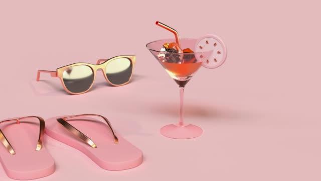 vídeos y material grabado en eventos de stock de escena rosa abstracta verano playa mar concepto oro objeto de decoración 3d renderizado - naturaleza muerta
