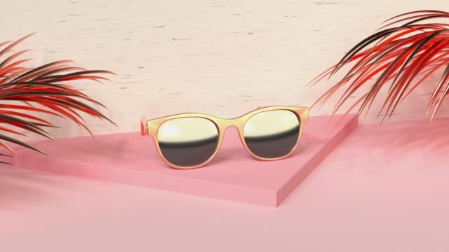 abstract pink scene summer  sea beach concept  gold object decoration 3d rendering - sunglasses stock videos & royalty-free footage