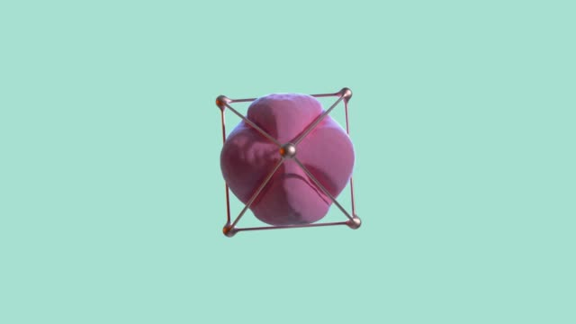 abstract pink sphere gold frame spinning green/blue scene 3d rendering - single object stock videos & royalty-free footage