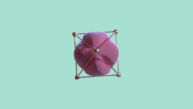 stockvideo's en b-roll-footage met abstract roze bol gouden frame spinning groen/blauw scene 3d rendering - enkel object