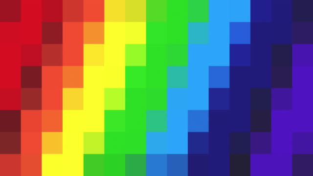 Abstract Pixelated Background - Rainbow Coloured