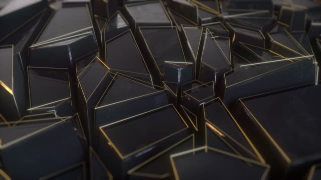 abstract polygonal background metal black animation 4k - geometric shape stock videos & royalty-free footage