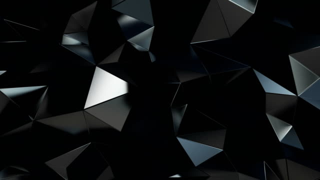 vídeos de stock e filmes b-roll de abstract polygonal background metal black animation 4k - design
